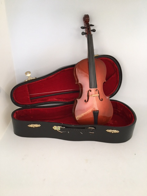 Miniature Cello and Bow Music Box and Case