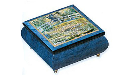 Monet Bridge on Blue Music Box by Ercolano