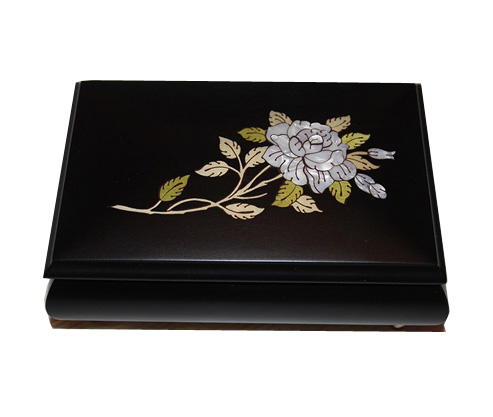 Mother of Pearl Rose on Black Matte Music Box