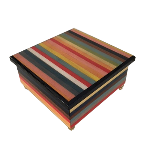 Multi-Colored Italian Inaly Striped Music Box