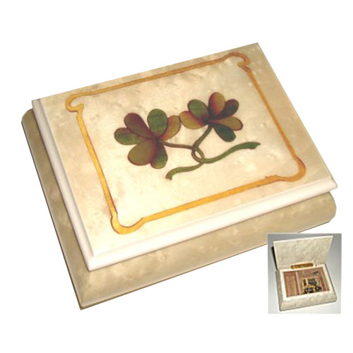 Music Box with Shamrocks and White Border