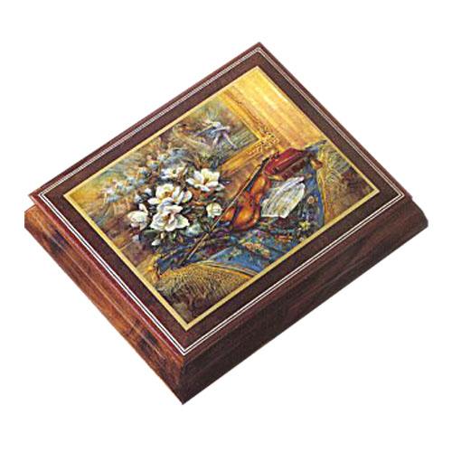 Lena Liu Decoupage Violin and Flowers on lid of Elm music box