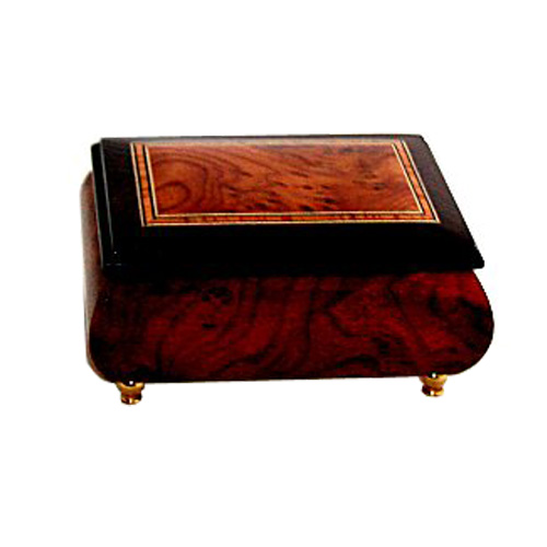Italian two tone Plain Elm Musical Box with Walnut Trim