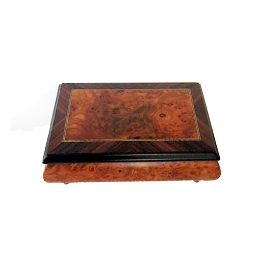 Musical Box with Rectangular Design and Filletto Border Closed