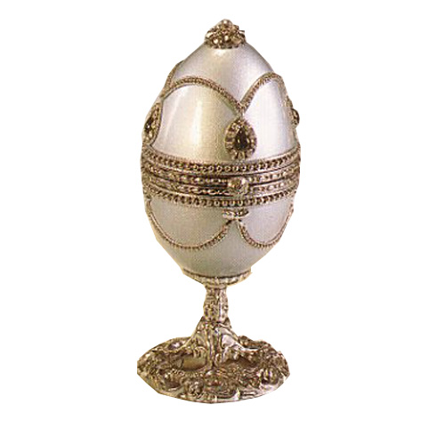 Musical Ornate Silver Goose Egg