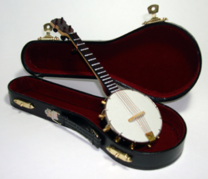 "Miniature 9.5""  5 string Banjo and case"