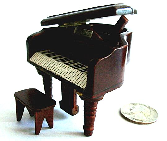 Miniature Baby Grand Piano in Walnut finish