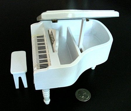 Large White Miniature Baby Grand Piano