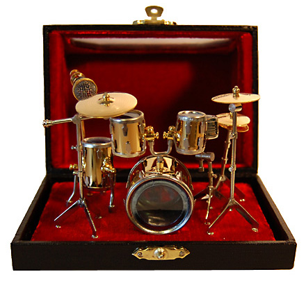 Miniature Drum Set Brass Small