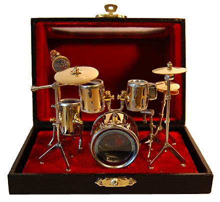 Miniature brass 5 piece drum set in case with window