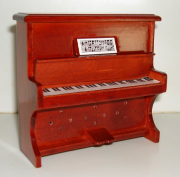 Miniature piano upright brown small for Small upright piano dimensions