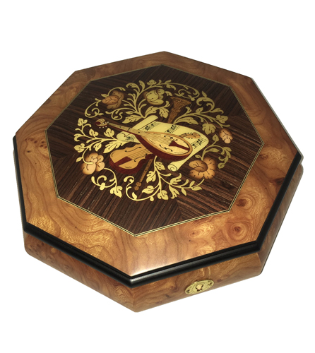 Octagon Music Box with Instrumental Inlay