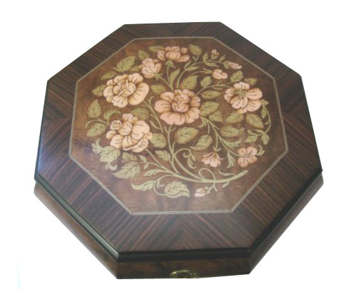 Octagon Musical Jewelry Box with Floral Inlay (1.18)