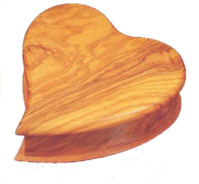Olive Wood Heart Shaped Music Box