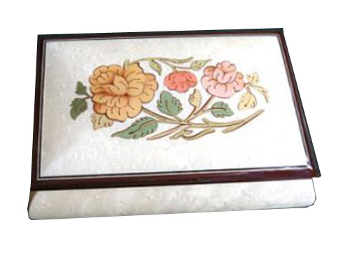 White Music Box with Floral Design