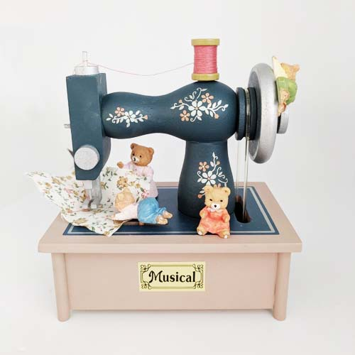 Multi-Action Music Box Bear Sewing Machine by Pelman