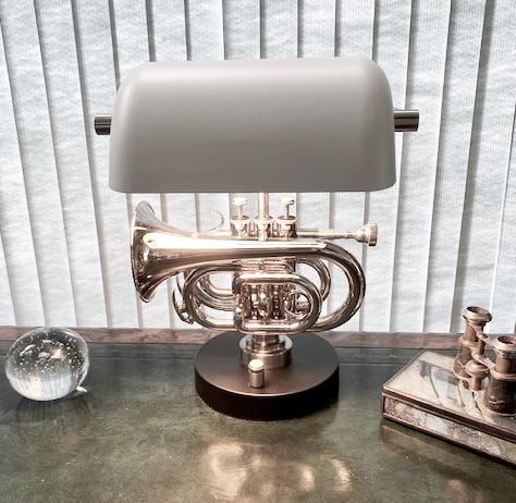 custom made pocket trumpet desk lamp