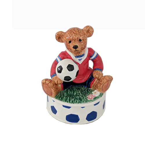 Porcelain bear, Music box with animals, glass music box, music box with teddy bear, soccer music box, Porcelain soccer music box