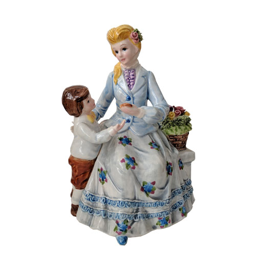 Porcelain Music box with Woman and Child