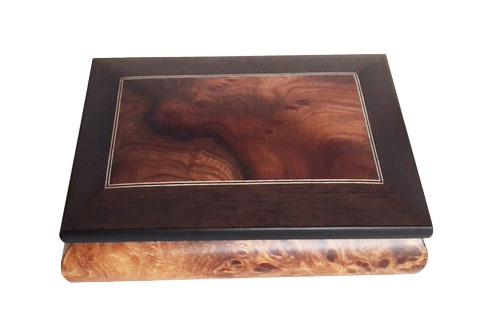 rectangular-pattern with walnut and filleto boarder on birdseye elm music box