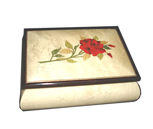 Red Rose on Glossy White Musical Box