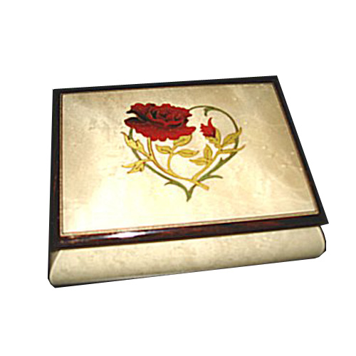 Red Rose on Leafy Heart on Glossy White Musical Box