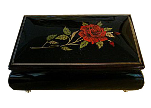 Single Red Rose on Black Lacquer Music Box with Filetto Border