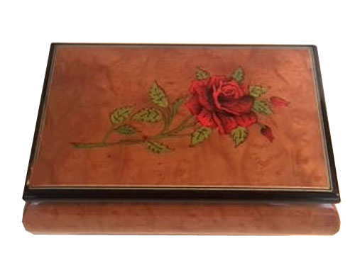Red Rose on Glossy Elm Music Box