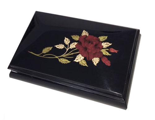 Red Rose on High Gloss Ebony Finish Music Box
