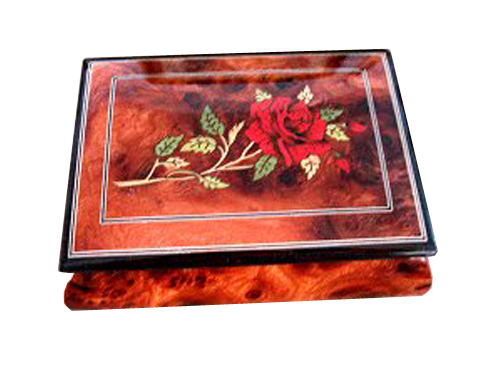 Red Rose with Filetto Border on Glossy Elm Musical Box