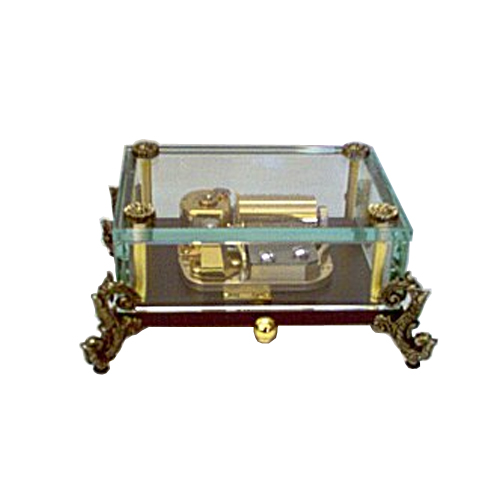 36 note clear crystal music box with ornate feet