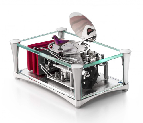 Reuge Red Bird singing in Crystal Clear Polished Glass