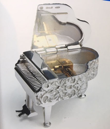 Reuge Miniature Solid Silver Piano Open View