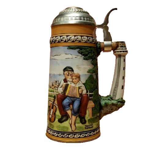 """Norman Rockwell's """"The Music Lesson"""" depicted on Beer Stein"""