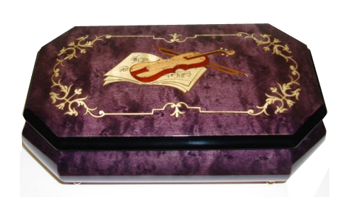 Royal purple musical box with Music and Violin inlay