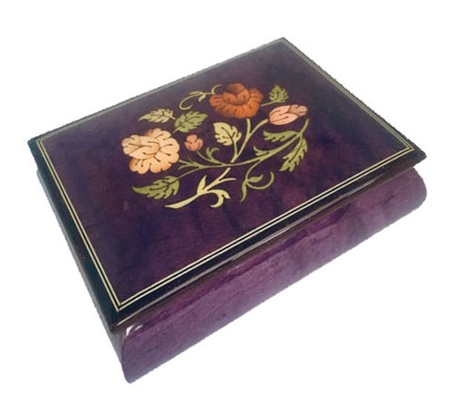 Lovely Royal Purple Musical Box with Floral Inlay