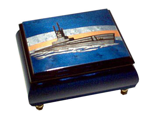 Italian inlay of Ship at Sea on lid of Blue Music Box