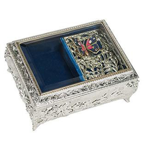 Silver Ormalue Musical Box with Butterfly