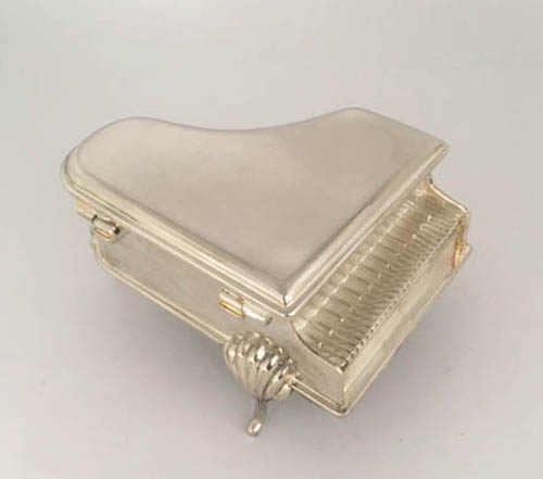 Silver plated piano trinket box