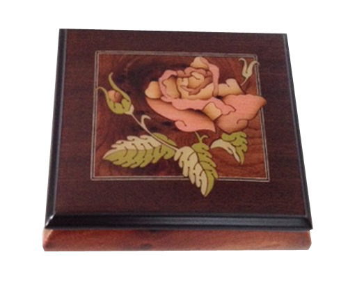 Elm music box with walnut border featuring single pink rose.
