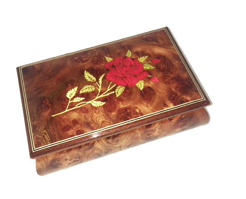 Single Red Rose on Burled Elm music box