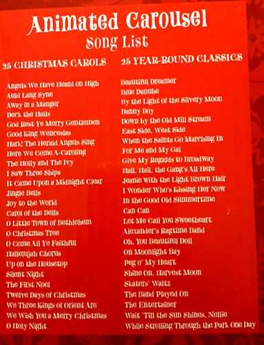 disney carousel by mr christmas song list for disney carousel - Classic Christmas Songs List