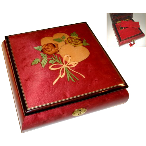 Square Music Box with Hearts and Flowers