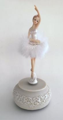 rotating ballerina with feathered tutu musical figurine