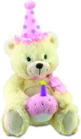 Trimmed in Pink, musical Animated Birthday Bear