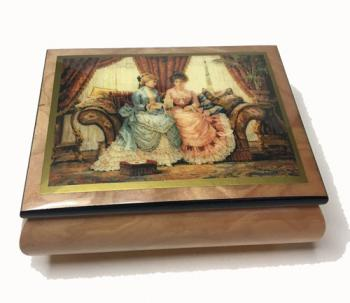 decoupage of two ladies reading letter on elm music box