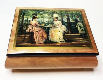 Decoupage of Two Victorian Ladies conversing on lid of elm music box