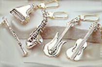 Sterling Silver Musical Instrument  Keychains
