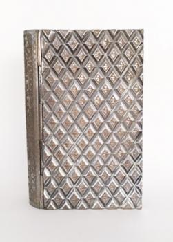 Zimbalist Diamond Pattern Silver Book Music Box standing upright