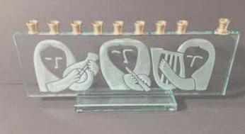 Etchd Glass Menorah with Ancient Women Musician Design